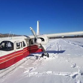plane landed on snow area
